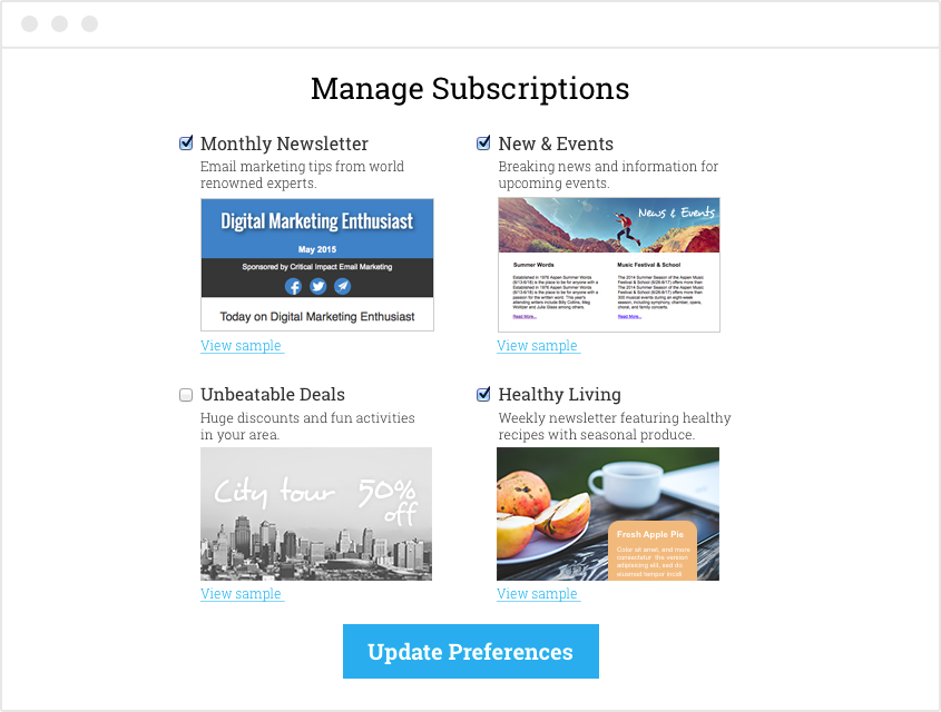 Customize Subscription Center